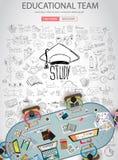 Воспитательный и учащ концепцию с стилем дизайна Doodle Стоковое Изображение