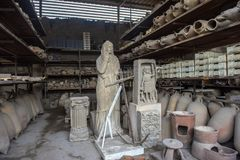 Воспроизводство Помпеи отрытой человеческой диаграммы которая была похоронена в золе Стоковые Изображения
