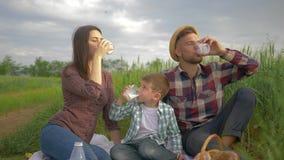 Воссоздание природы, счастливая усмехаясь семья с молоком напитка мальчика ребенка во время пикника outdoors в зеленом поле видеоматериал