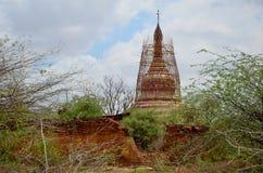 Восстановите пагоду в зоне Bagan археологической Стоковое фото RF