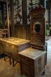 Восстановлен старый материал внутри академии клана Chen, область Гуанчжоу, Ming и династии Qing, общая кровать семьи Стоковая Фотография RF