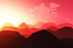 Востоковедный заход солнца 3D представляет 02 Стоковая Фотография RF