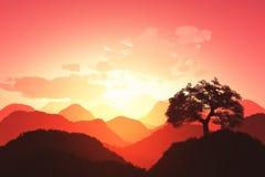 Востоковедный заход солнца 3D представляет 02 Стоковые Фотографии RF