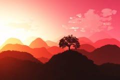 Востоковедный заход солнца 3D представляет 03 Стоковые Изображения RF