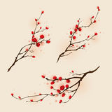 Востоковедная картина стиля, цветение сливы весной Стоковая Фотография