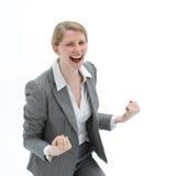 восторженная смеясь над женщина Стоковые Фото
