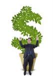 Восторженный предприниматель с деревом денег Стоковые Изображения RF