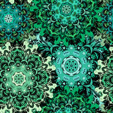Восточная безшовная картина с восточным флористическим orament Изумрудно-зеленый покрашенный дизайн в ацтеке, turkish, Пакистане, Стоковые Фотографии RF