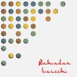 Восточная картина в стиле плитки для фестиваля Рамазана Kareem Карточка с восточным дизайном Стоковое Изображение