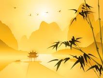 Восточная картина стиля, бамбук в сцене захода солнца иллюстрация штока