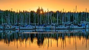Восточная Олимпия Вашингтон захода солнца залива стоковые фотографии rf