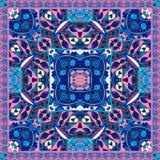 Восточная печать bandana Симпатичная скатерть Silk шарф шеи Орнаментальная предпосылка с этническими мотивами бесплатная иллюстрация