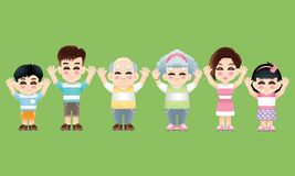 Восточная семья со случайным костюмом и обеими руками подняла стоковые фото