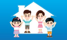 Восточная семья со случайным костюмом и предпосылкой дома стоковое фото rf