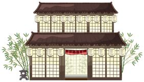Восточное здание с фонариками и бамбуком иллюстрация штока