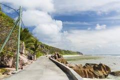 Восточное побережье Digue Ла, Сейшельские островы Стоковые Фотографии RF