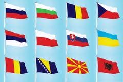 Восточно-европейские флаги стран иллюстрация штока
