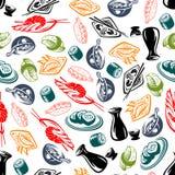 Восточные блюда кухни и картина ради безшовная бесплатная иллюстрация