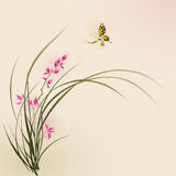 Восточные картина стиля, цветки орхидеи и бабочка иллюстрация вектора