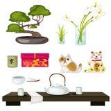Восточные символы и Feng Shui, церемония чая иллюстрация штока