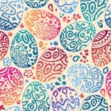 Восточные яичка эскиза также вектор иллюстрации притяжки corel Vector безшовная картина с красочными яичками на предпосылке БРАЙН Стоковое Фото