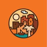 Восточный город на пляже с пальмами и яхта Vector иллюстрации Стоковая Фотография