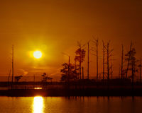 Восточный заход солнца берега Стоковые Изображения