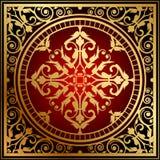 Восточный половик красного цвета & золота иллюстрация штока