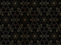 Восточный цвет золота картины, иллюстрация Мандала цветка декоративный сбор винограда элементов Орнамент Изолировано на черной пр стоковое фото