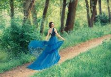 Восхитительная нежная танцуя девушка, молодая красивая принцесса идет вдоль секретных путей леса дама поднимает кромку  стоковые фотографии rf