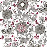 Восхитительная флористическая безшовная картина Серый цвет с красными сердцами Декоративный фон орнамента для ткани, ткани, упако Стоковое Фото