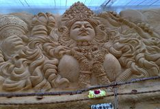 Восхитительная скульптура богини искусства песка Стоковые Изображения RF