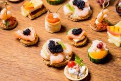 Восхитительный выбор роскошной закуски стоковое изображение