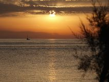 Восхитительный заход солнца на Адриатическом море Стоковая Фотография RF