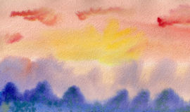 Восход солнца акварели стоковые изображения