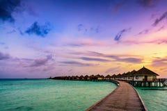 Восход солнца виллы над водой Стоковые Изображения