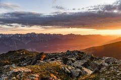 Восход солнца в австрийском альп Стоковые Фотографии RF