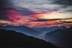 Восход солнца в австрийском альп Стоковое фото RF