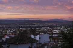 Восход солнца в Гранаде, Испании Стоковая Фотография