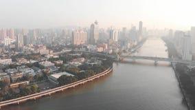 Восход солнца в Гуанчжоу золотистый час Остров Shamian видеоматериал