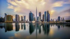 Восход солнца в Дубай стоковое фото rf