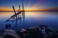 Восход солнца в пляже Стоковое Изображение