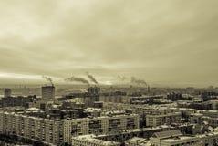 Восход солнца в промышленном городе Стоковое Изображение RF