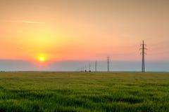 Восход солнца в центральных гористых местностях богемцев, чехия HDR Ima Стоковая Фотография RF