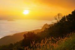 Восход солнца в dao samoe doi тумана Стоковые Изображения RF