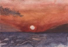 Восход солнца в Hersonissos другом море бесплатная иллюстрация