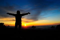 Восход солнца в montains стоковые фото