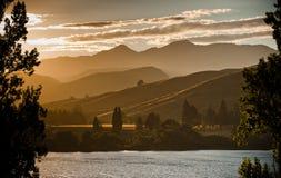 восход солнца горы озера Стоковая Фотография RF
