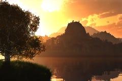 Восход солнца захода солнца на озере 3D представляет 1 Стоковое Изображение