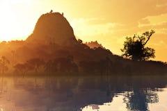 Восход солнца захода солнца на озере 3D представляет 1 Стоковая Фотография